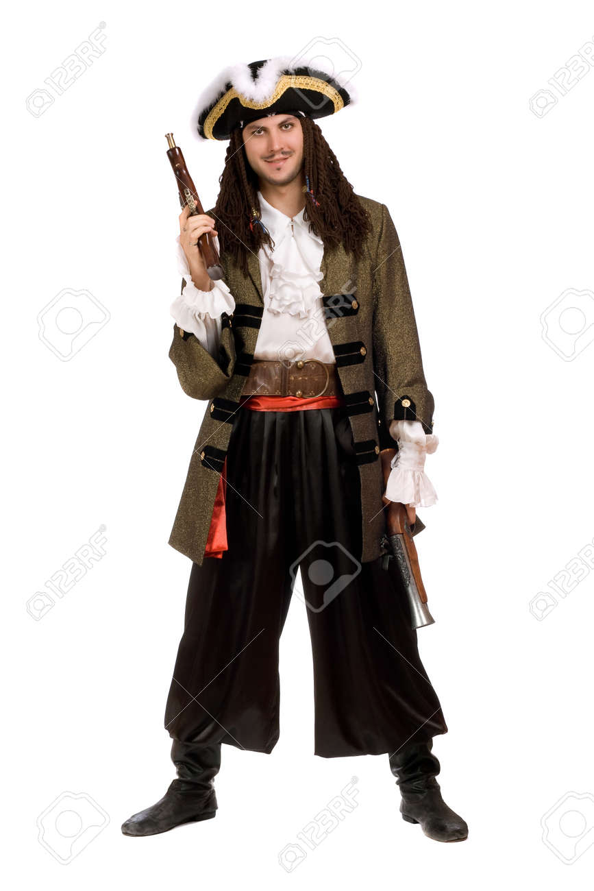 Young man in a pirate costume with pistols Stock Photo - 11598012