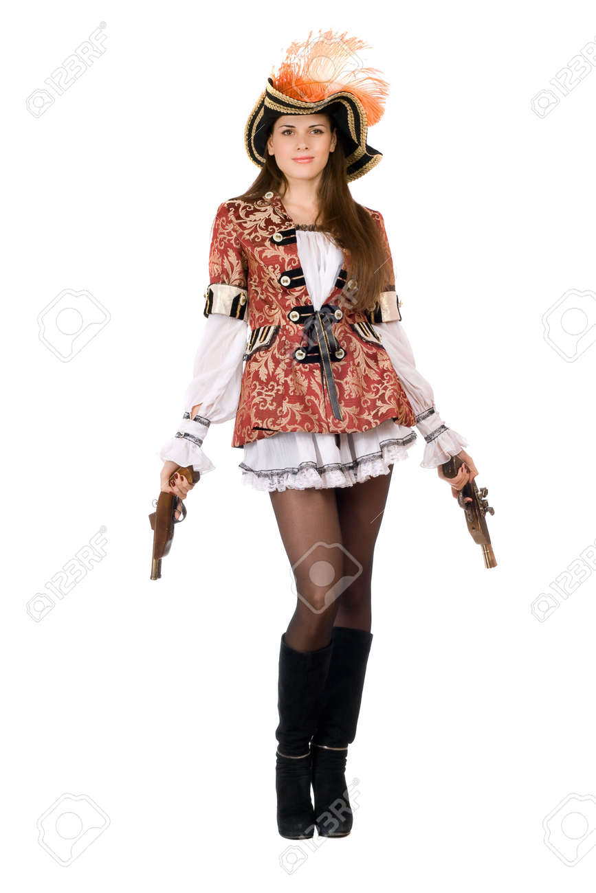 Pretty young woman with guns dressed as pirates Stock Photo - 11598048