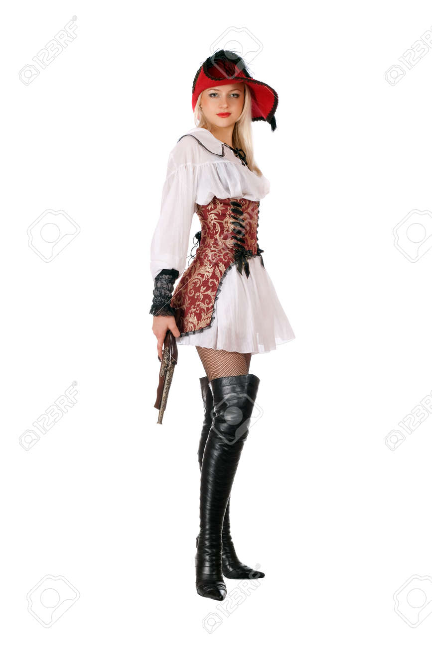 Young attractive blonde with gun dressed as pirates Stock Photo - 11819262