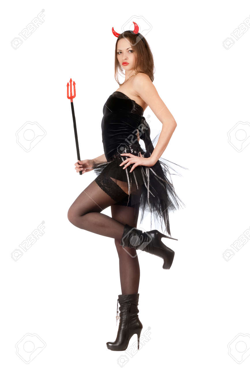 Seductive girl is wearing a sexy devil costume Stock Photo - 11915255