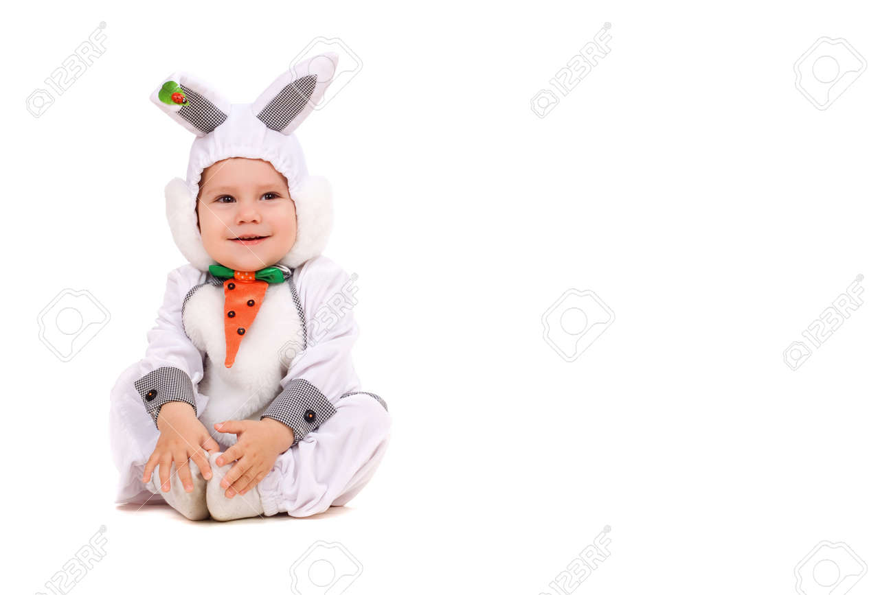 Little boy dressed as bunny. Isolated on white Stock Photo - 11960199