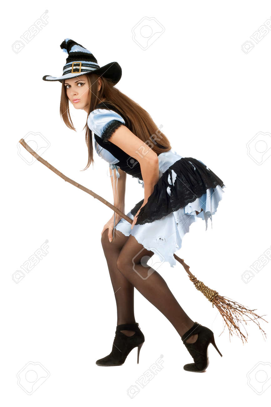 Beautiful Young Woman With A Besom Wearing Costume Witch Stock ...