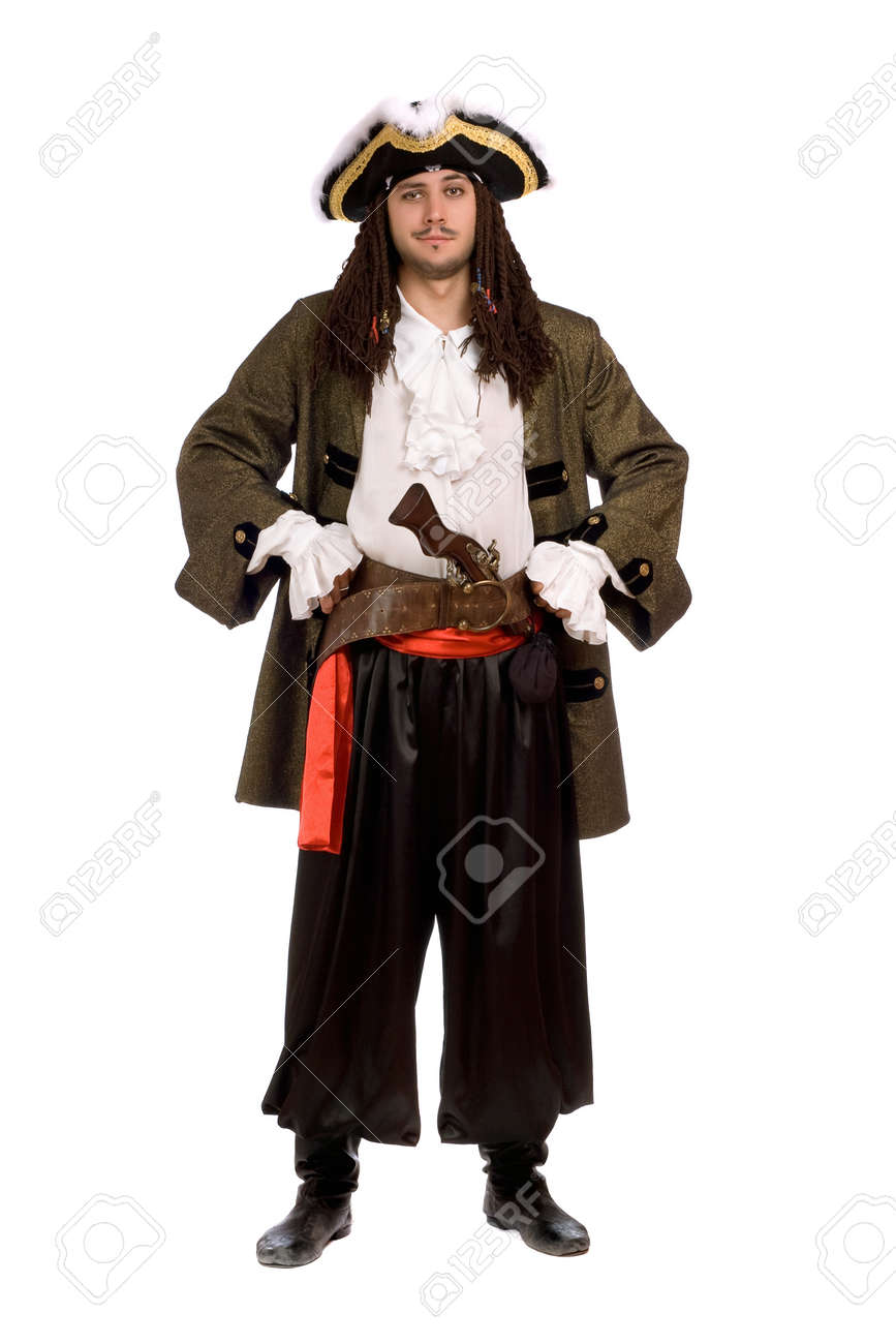Young man in a pirate costume with pistol. Isolated on white Stock Photo - 12177303