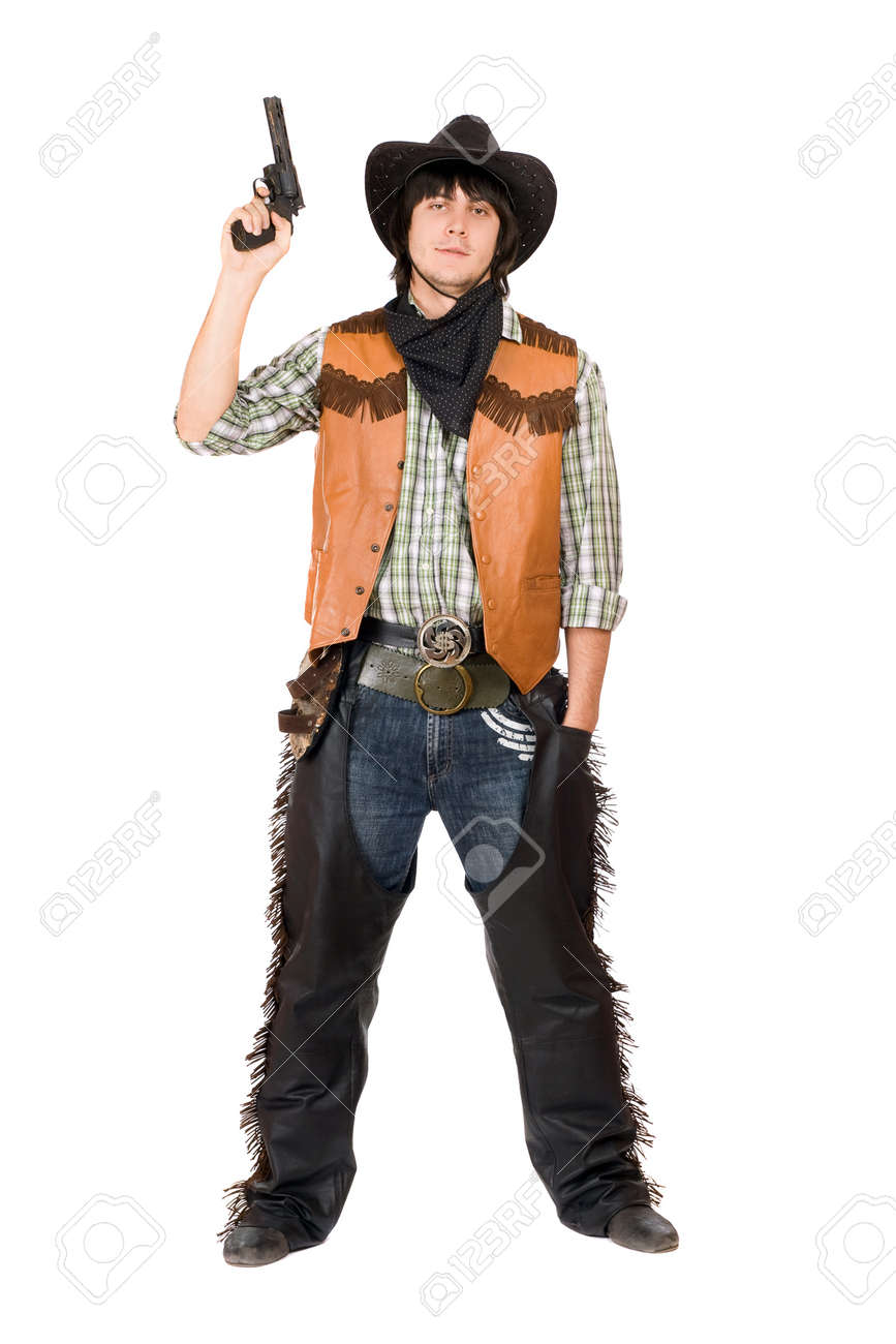 cowboy with a gun in hand isolated stock photo picture and royalty