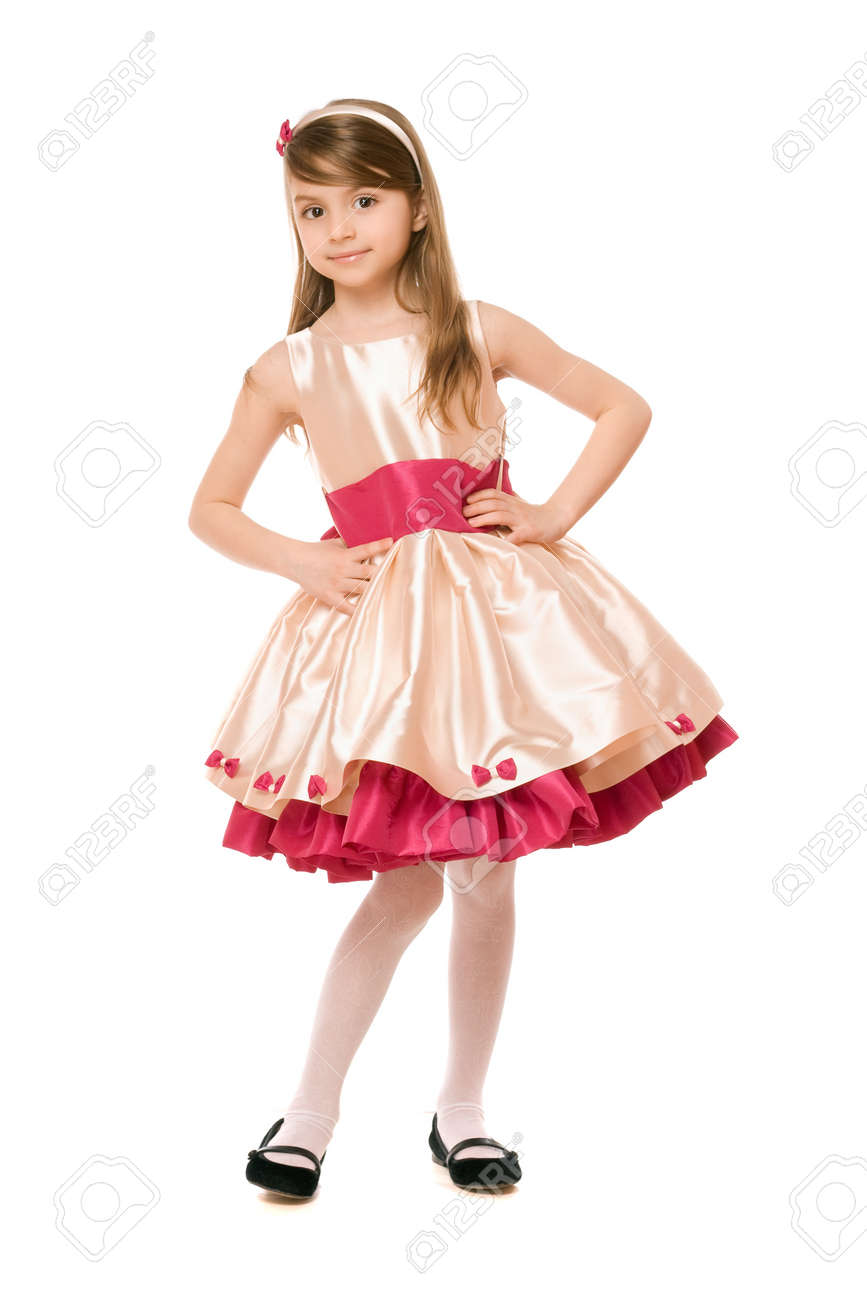 Playful little lady in a dress. Isolated Stock Photo - 13702615