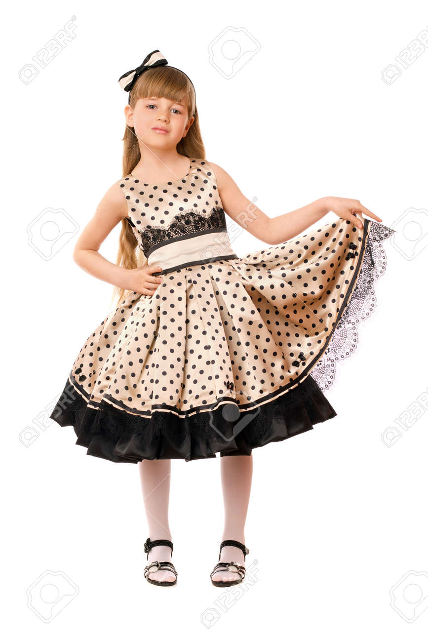 Pretty little girl in a dress. Isolated Stock Photo - 15630982