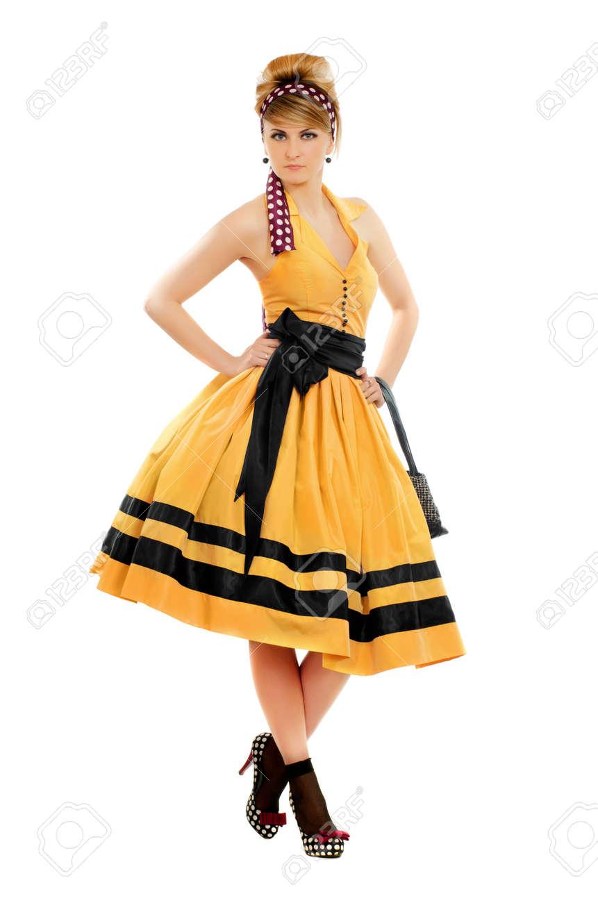 Incroyable Belle Jeune Femme En Robe Jaune. Isolé Banque D'Images Et Photos KT-62