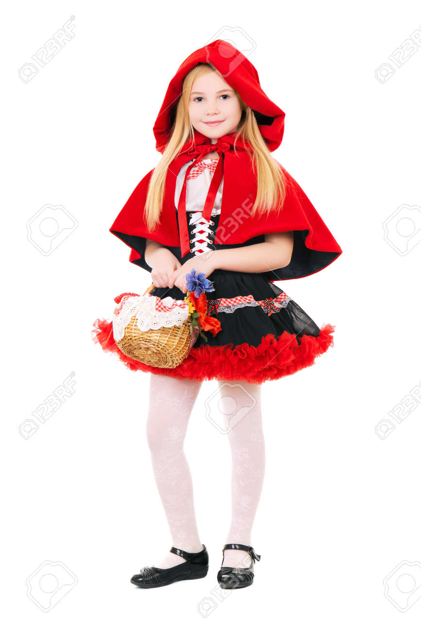 Little blond girl dressed as little red riding hood with basket. Isolated on white Stock Photo - 22527417