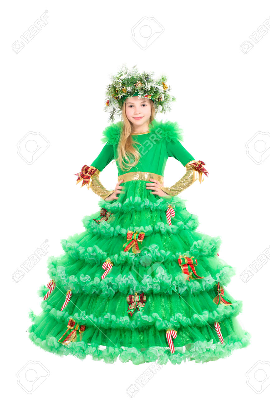 Christmas Tree Costume.Beautiful Little Blonde Dressed In Christmas Tree Costume Isolated