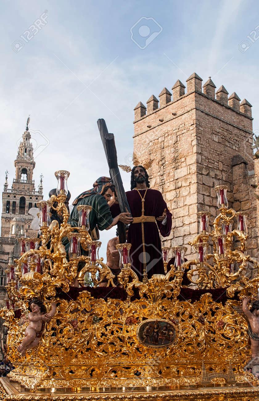 Procesion De La Hermandad De La Paz En La Semana Santa De Sevilla