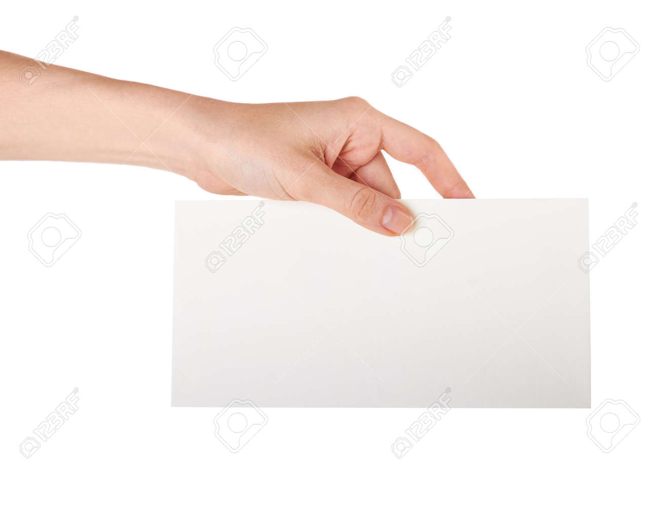 Female hand holding a blank business card studio isolated stock female hand holding a blank business card studio isolated stock photo 18126934 reheart Choice Image