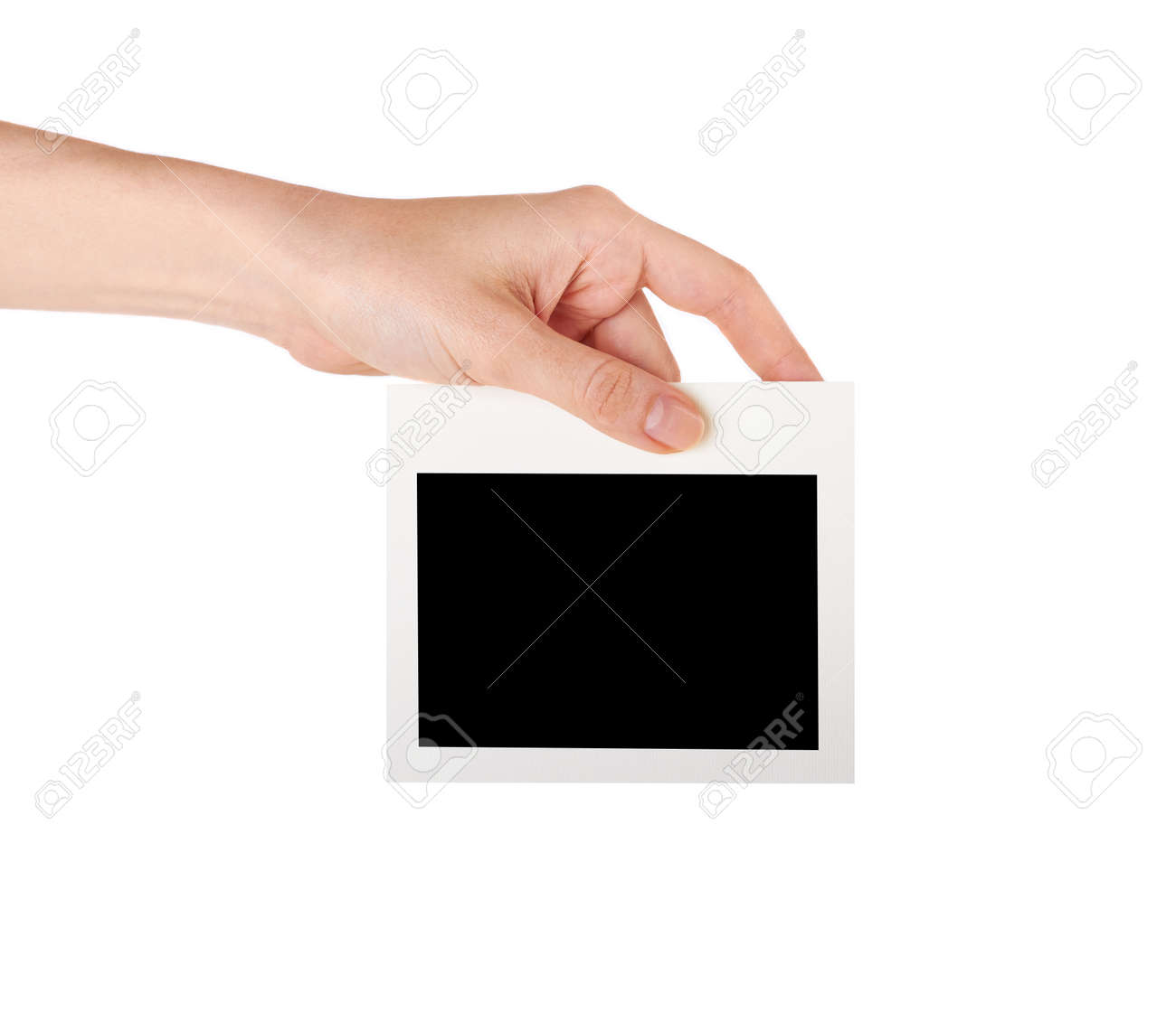 Female hand holding a blank business card studio isolated stock female hand holding a blank business card studio isolated stock photo 18206706 reheart Choice Image