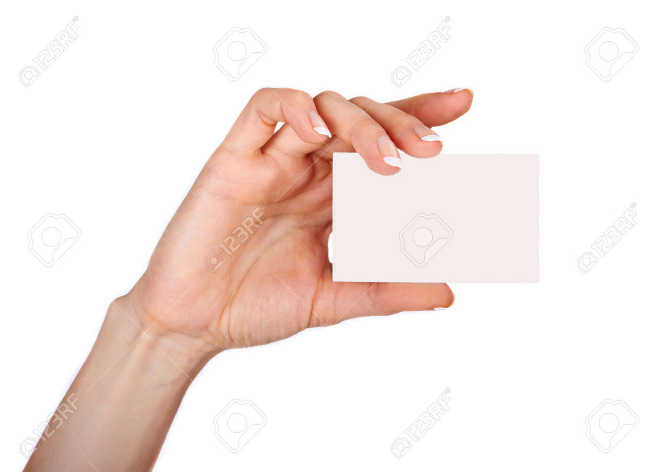 Female hand with a blank card isolated on white background Stock Photo - 18287207
