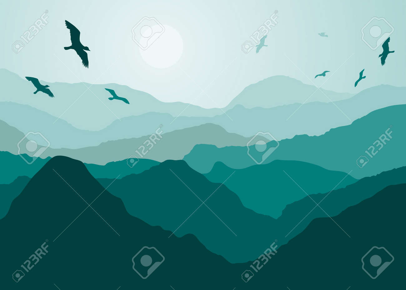 Birds over the mountain landmark Stock Vector - 18384423