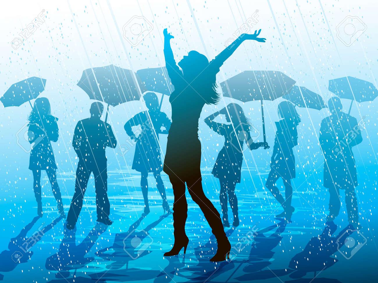 Enjoying the rain Stock Vector - 18439086