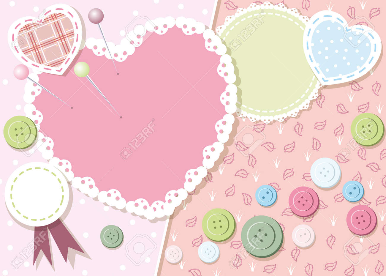 frame with buttons, paper and patches Stock Vector - 18455924