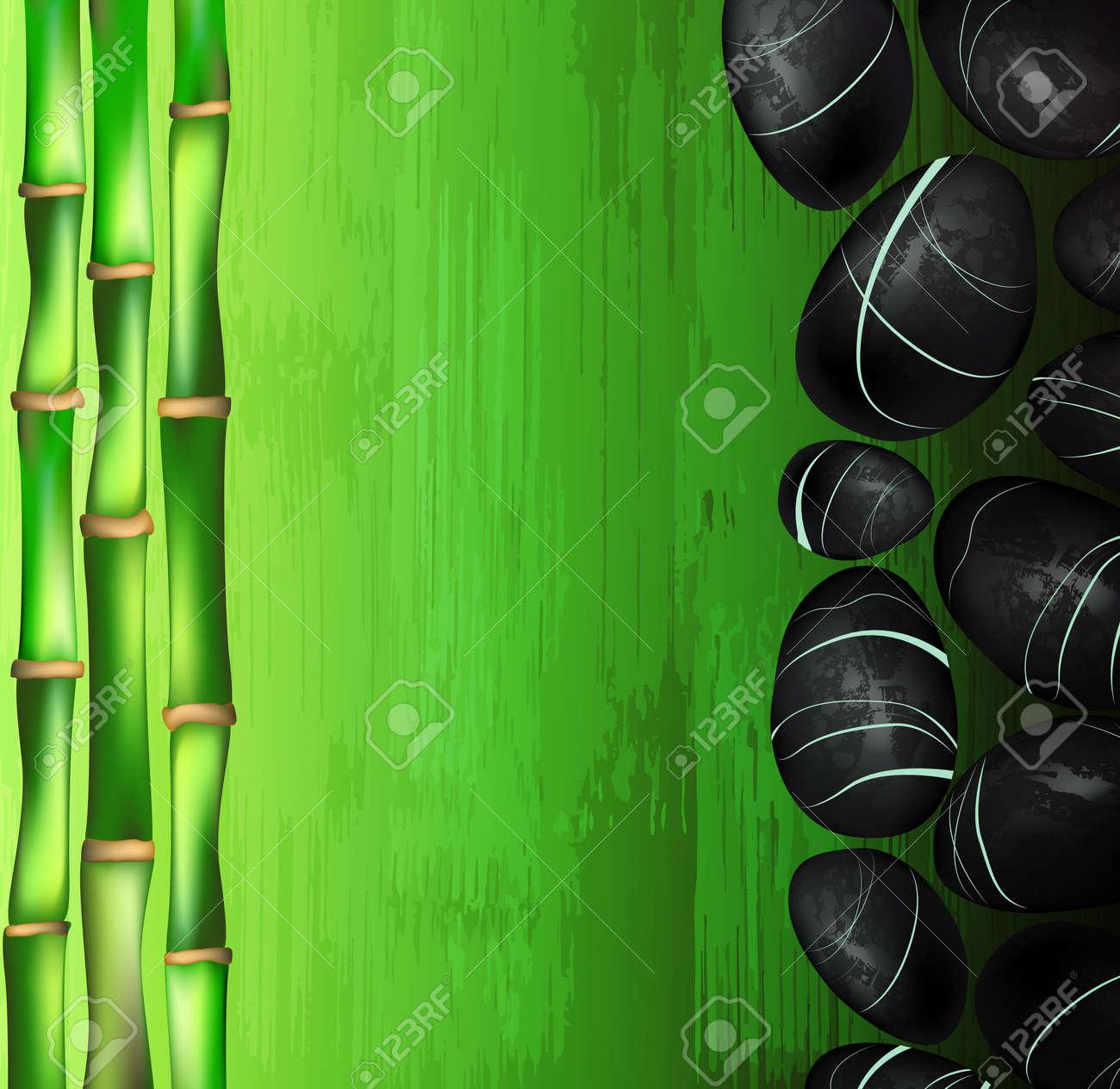 Hintergrund Eines Spa Mit Steinen Und Grunen Bambus Lizenzfrei
