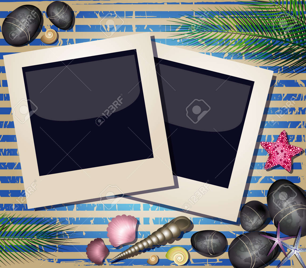 Background with shells and photos frame Stock Vector - 19615439