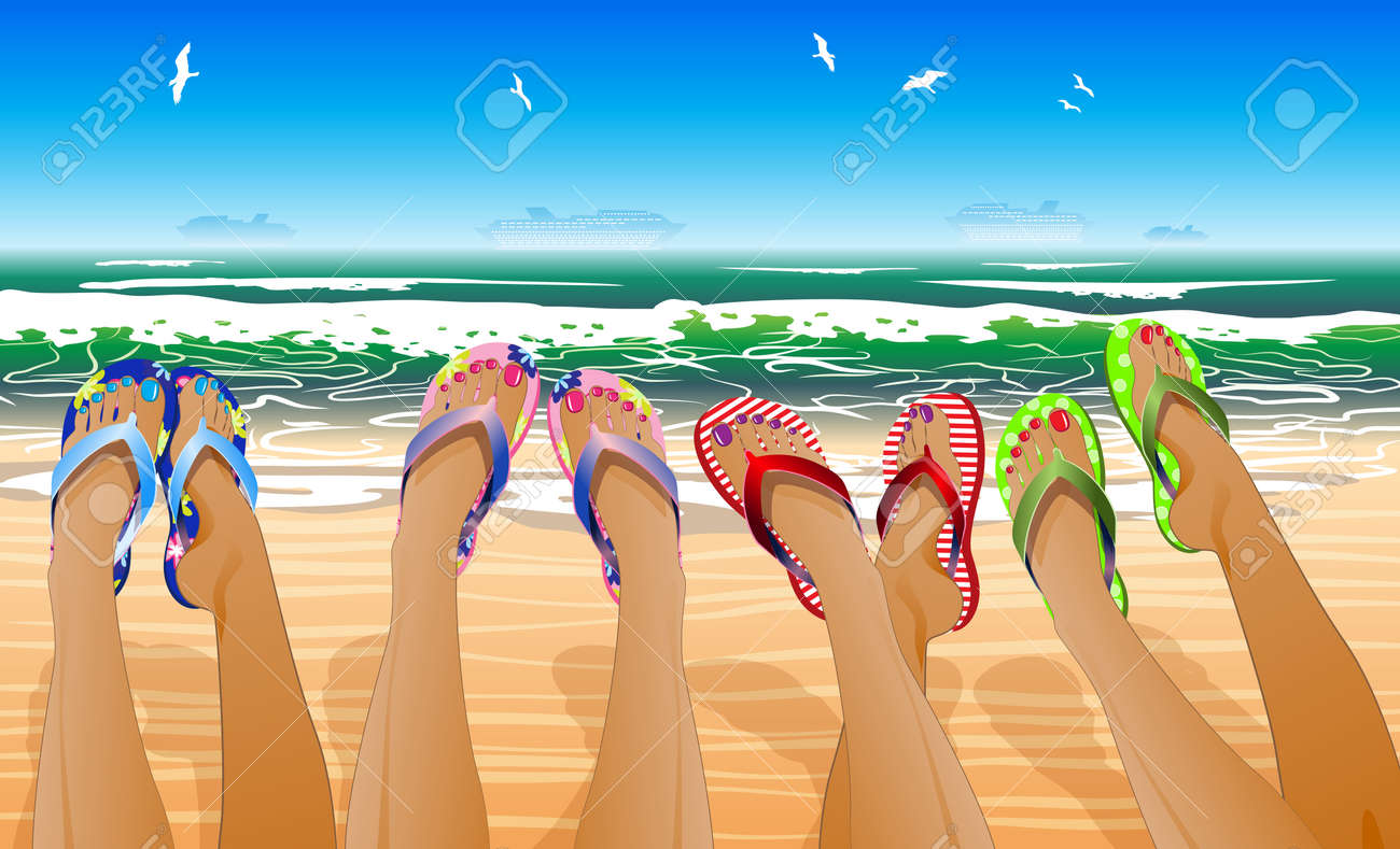 Female legs in colored flip flops against the sunny beach Stock Vector - 19740590