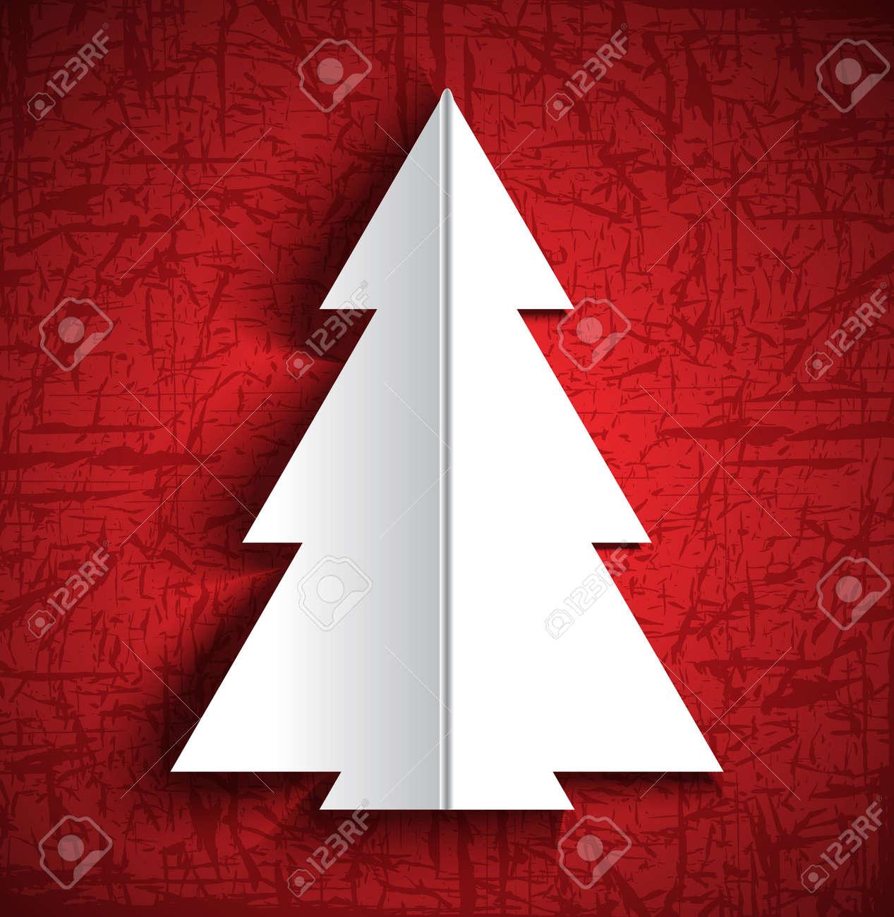 Biglietti Di Natale Di Carta.Vettoriale Albero Di Natale Di Carta Biglietto Di Auguri Image