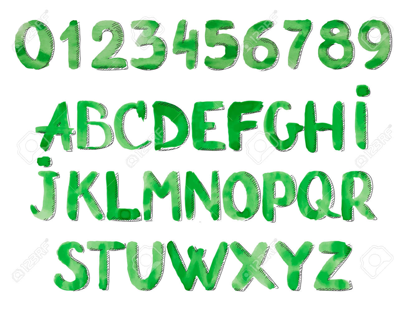 vector vector watercolor alphabet painted font letters and numbers