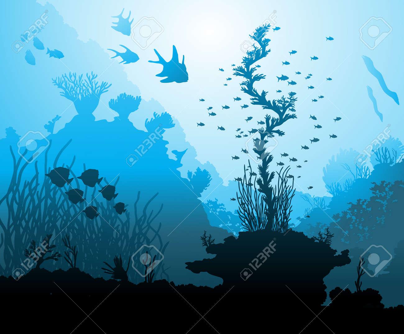 Ocean underwater world with different animals - 56410769