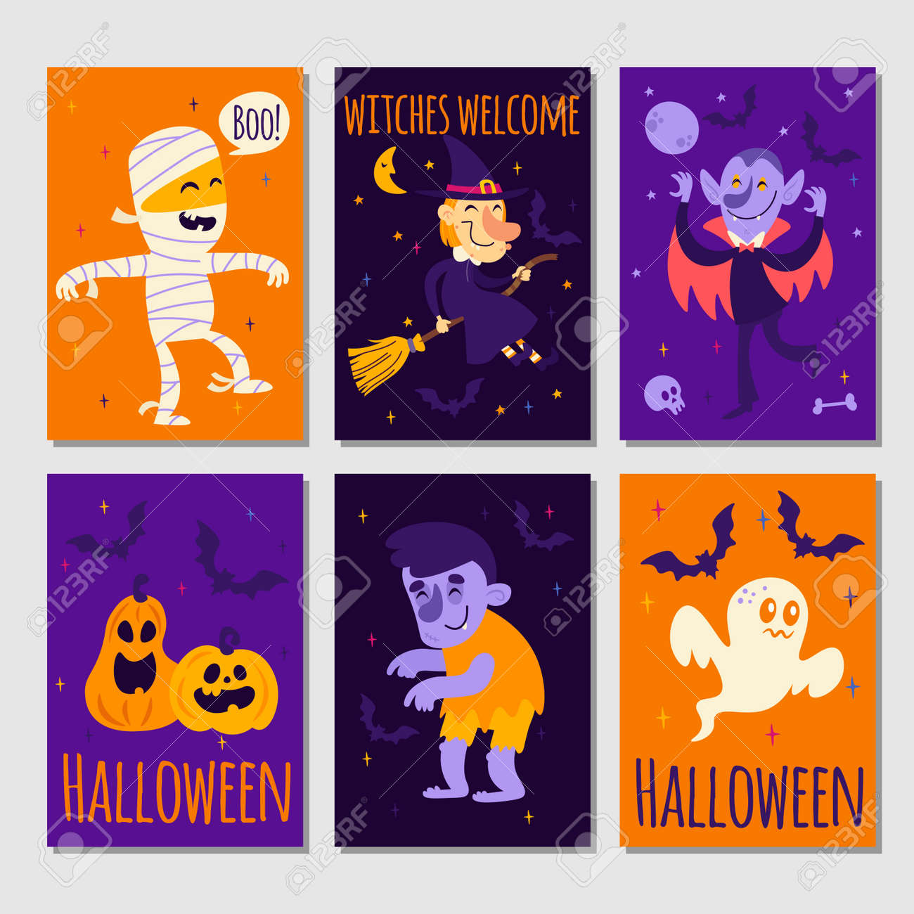 Set of cartoon Halloween posters or cards - 141530157