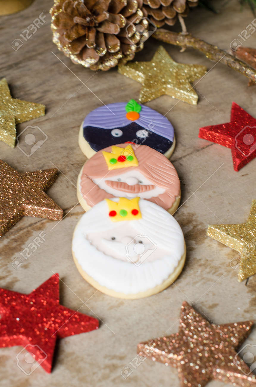 Colorful Christmas Cookies Decorated With Fondant