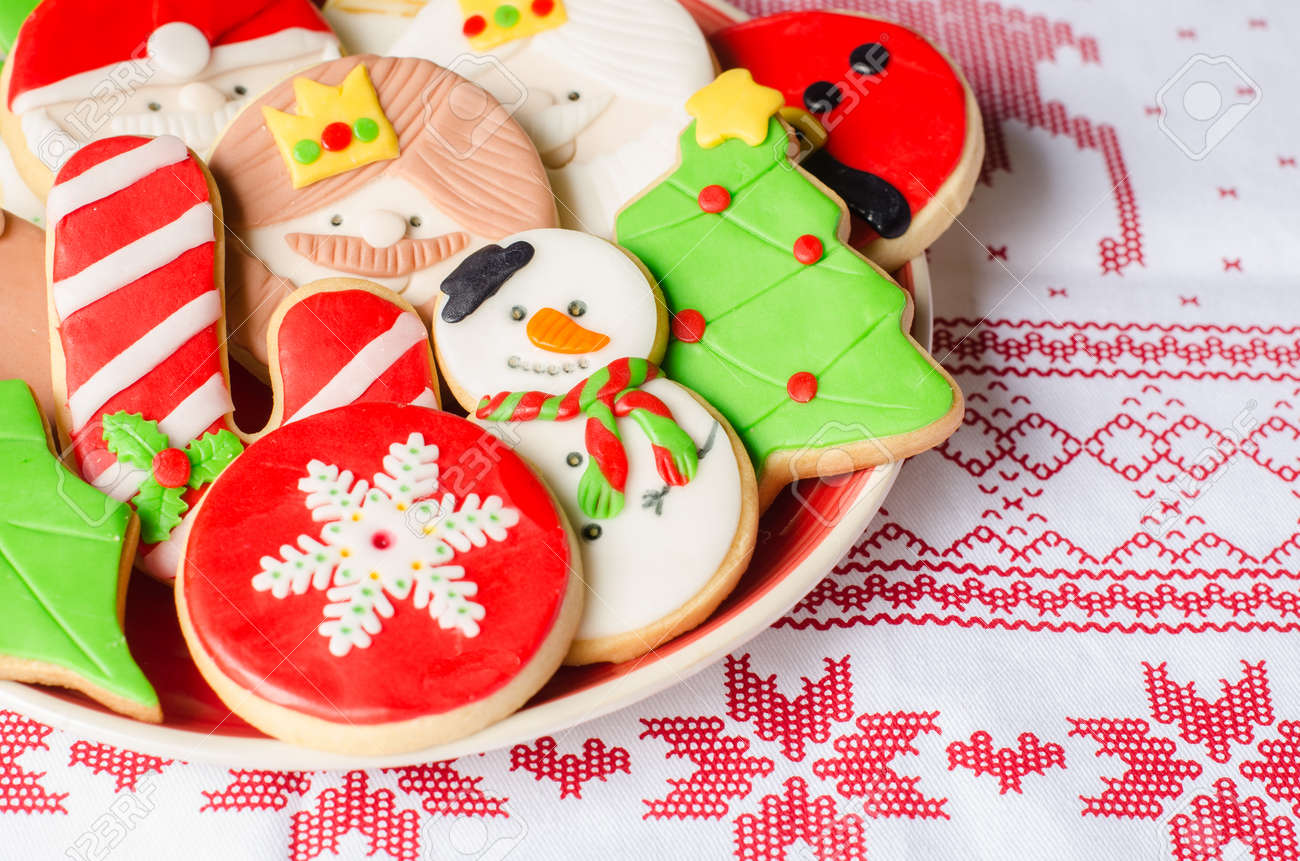 Plate Full Of Colorful Christmas Cookies Decorated With Fondant