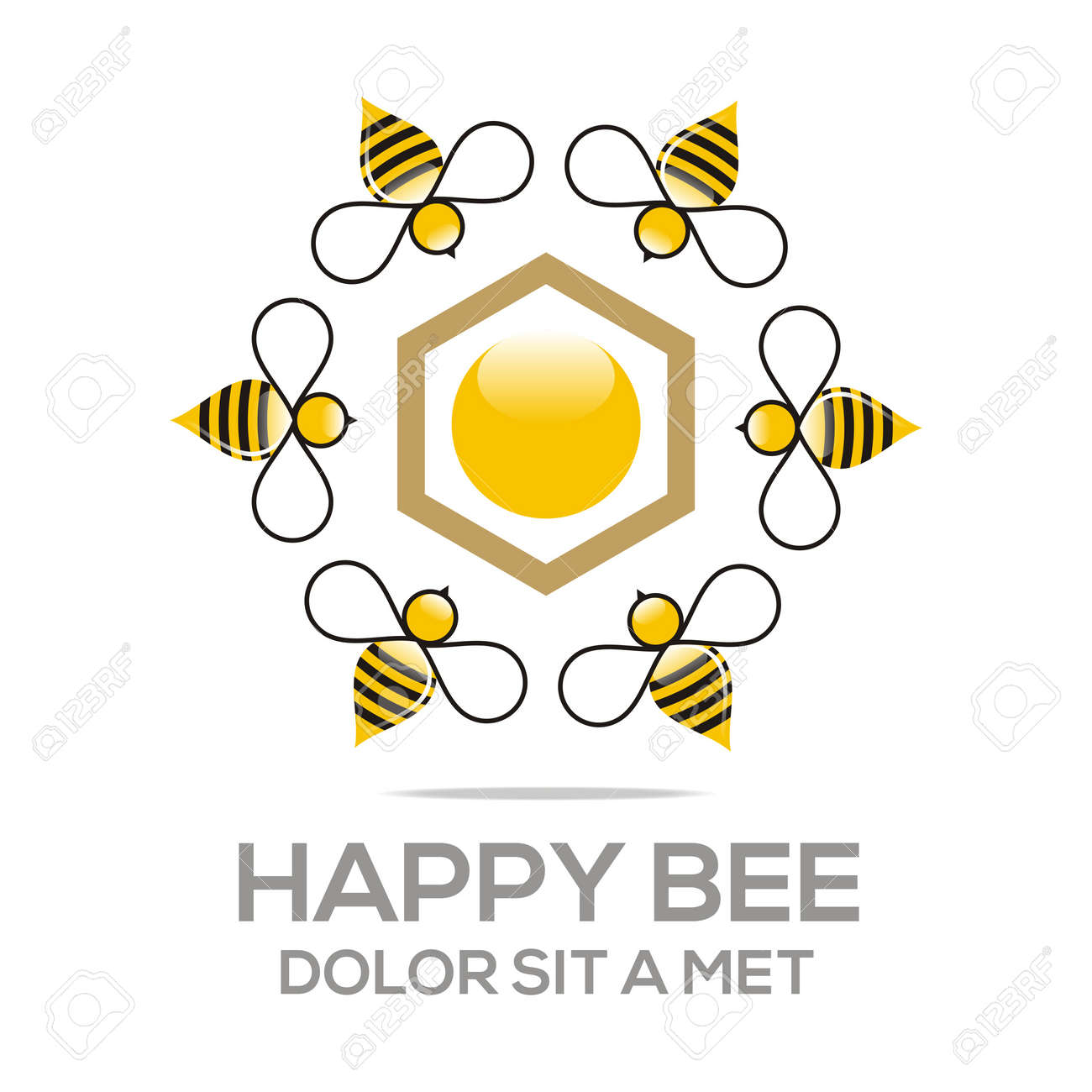 Logo Beehive Sweet Natural And Honeycomb Design Stock Vector - 45117741