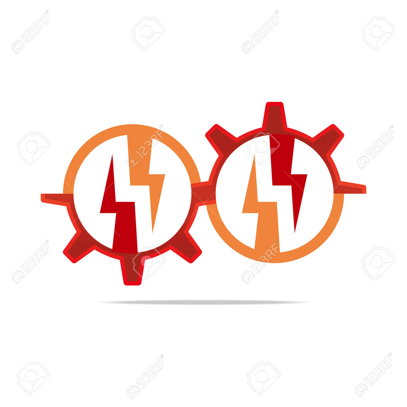 Logo Design Icon Power Electricity Circle Gear Symbol Abstract ...