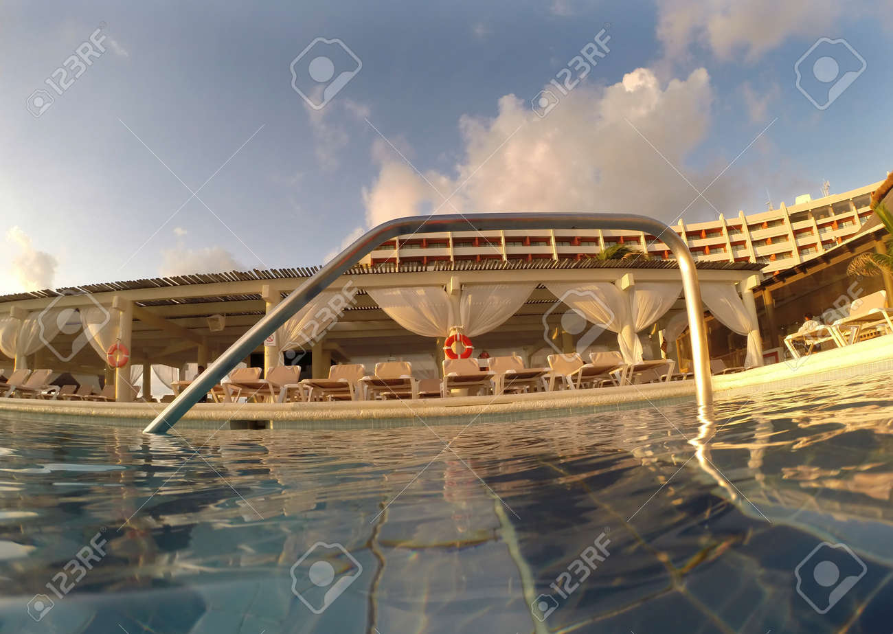 Endless swimming pool at dawn in the caribbean
