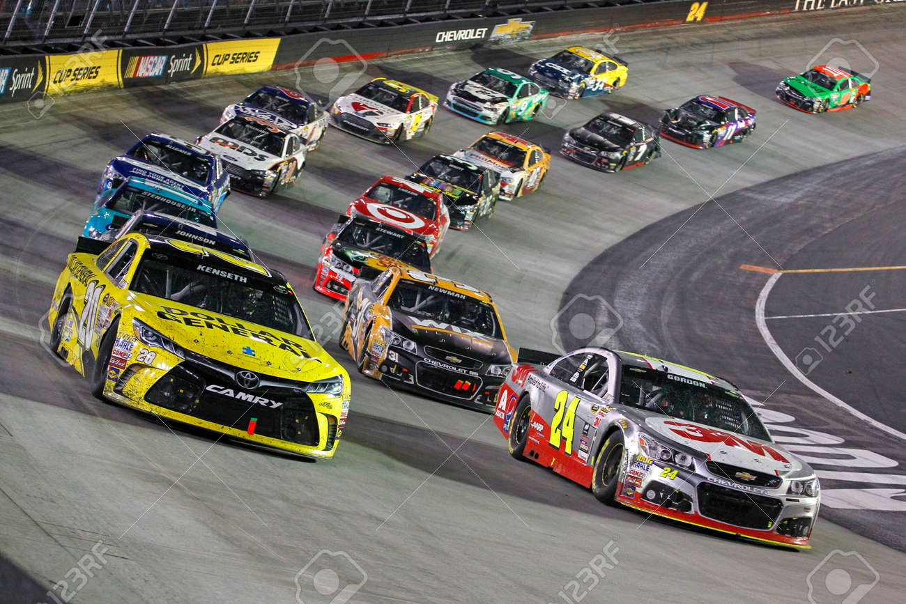 Bristol, TN - Apr 19, 2015: The NASCAR Sprint Cup Series teams take to the track for the Food City 500 at Bristol Motor Speedway in Bristol, TN. - 39912621
