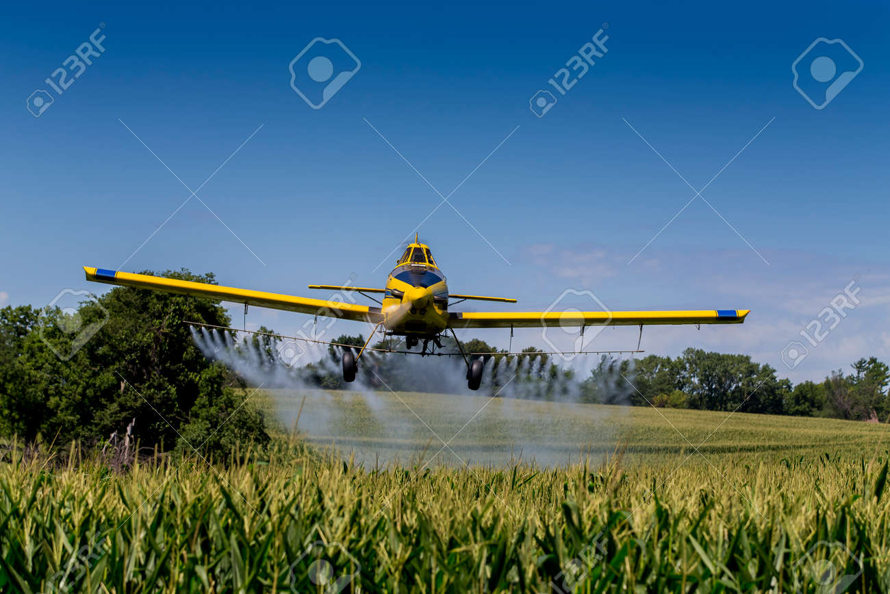 A crop duster applies chemicals to a field of vegetation. - 44030322