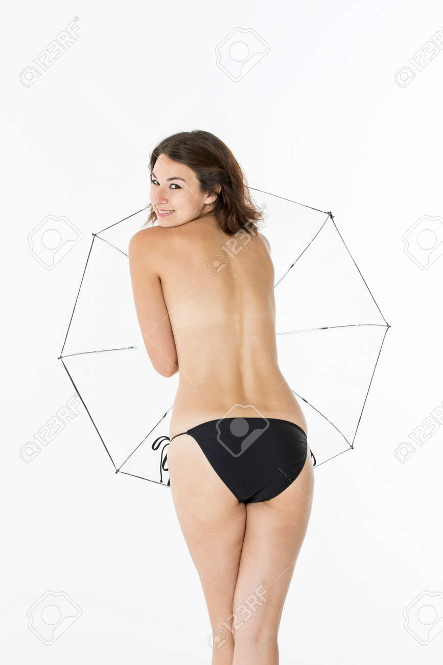 Topless Environment In A Umbrella An Model With Bikini Playing Studio wm8v0NnO