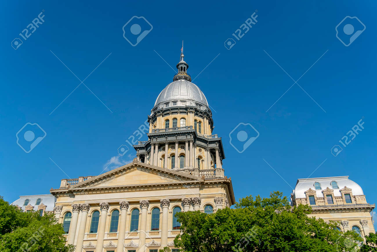 August 24, 2020 - Springfield, Illinois, USA: The Illinois State Capitol, located in Springfield, Illinois. The current building is the sixth to serve as the capitol building since Illinois was admitted to the United States in 1818. - 156974039