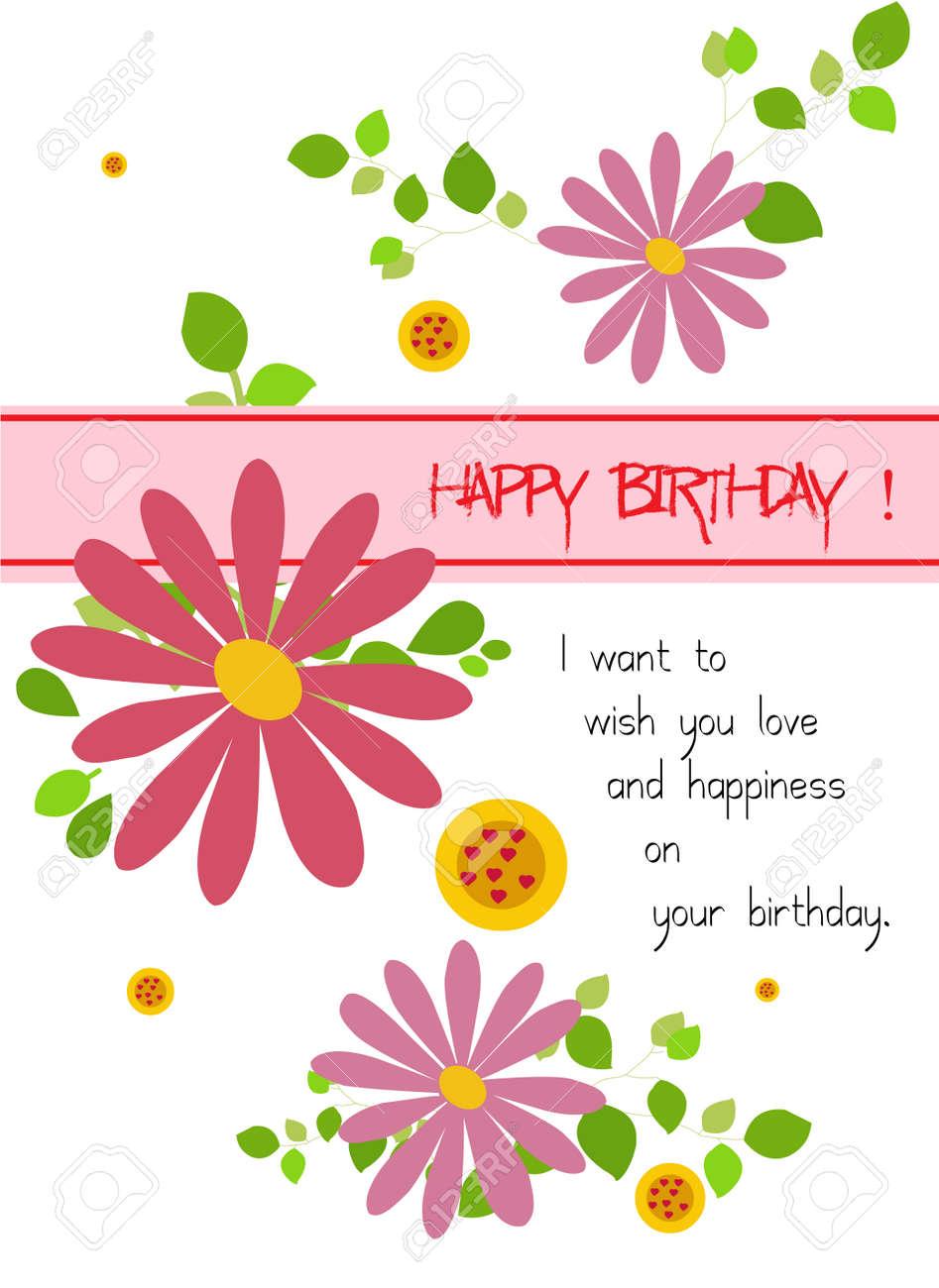 Happy birthday with flowers royalty free cliparts vectors and happy birthday with flowers stock vector 24123843 izmirmasajfo Choice Image