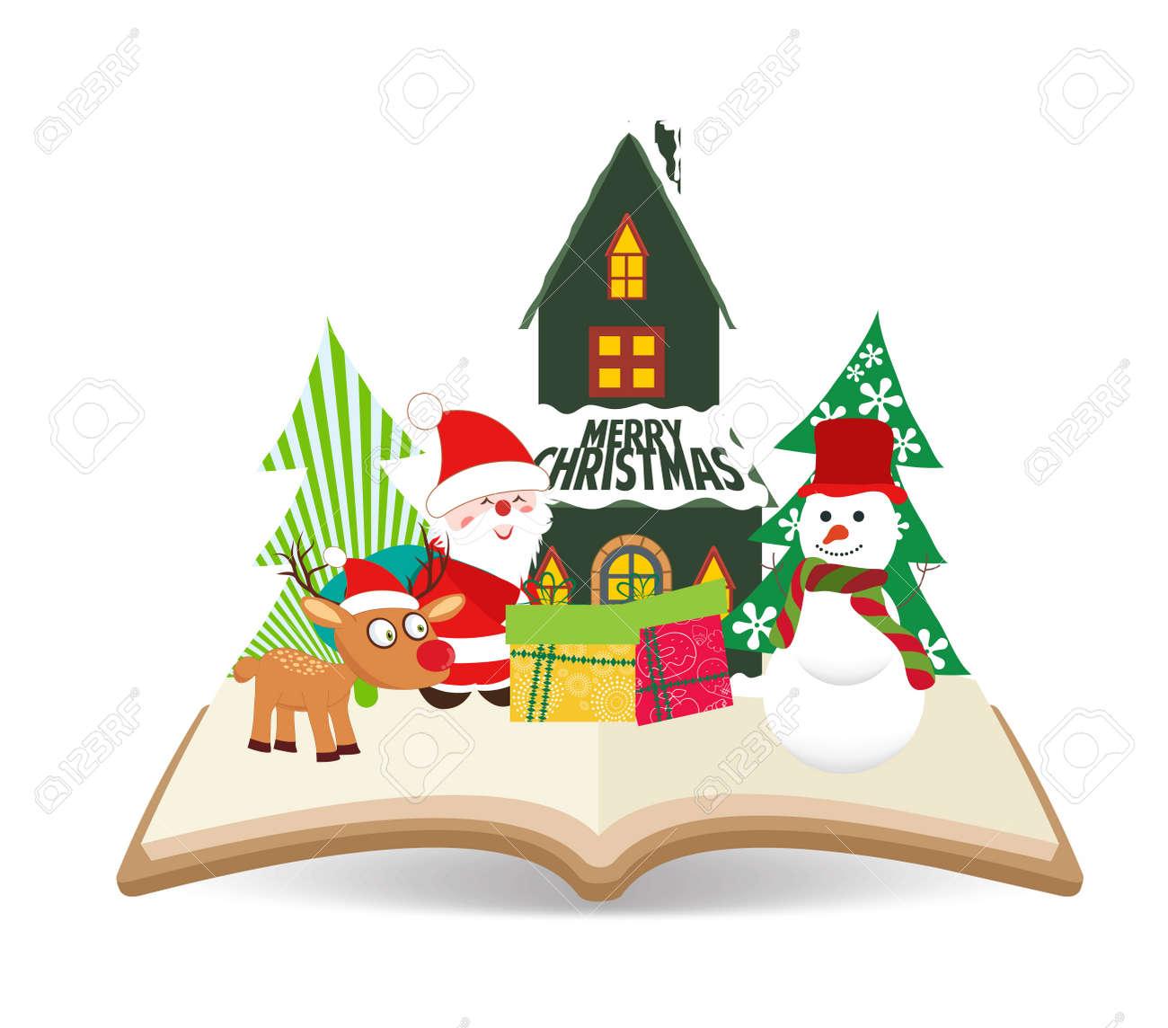 Joyeux Noel Noel Pere Noel Et Bonhomme De Neige Sur Le Livre