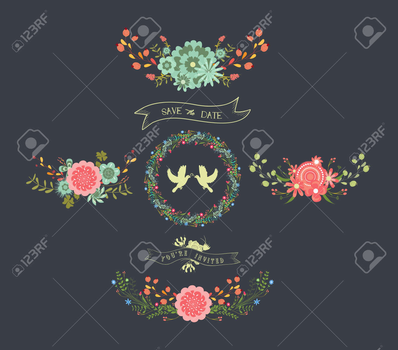 Chalkboard Natural Floral Wreaths Royalty Free Cliparts, Vectors ...