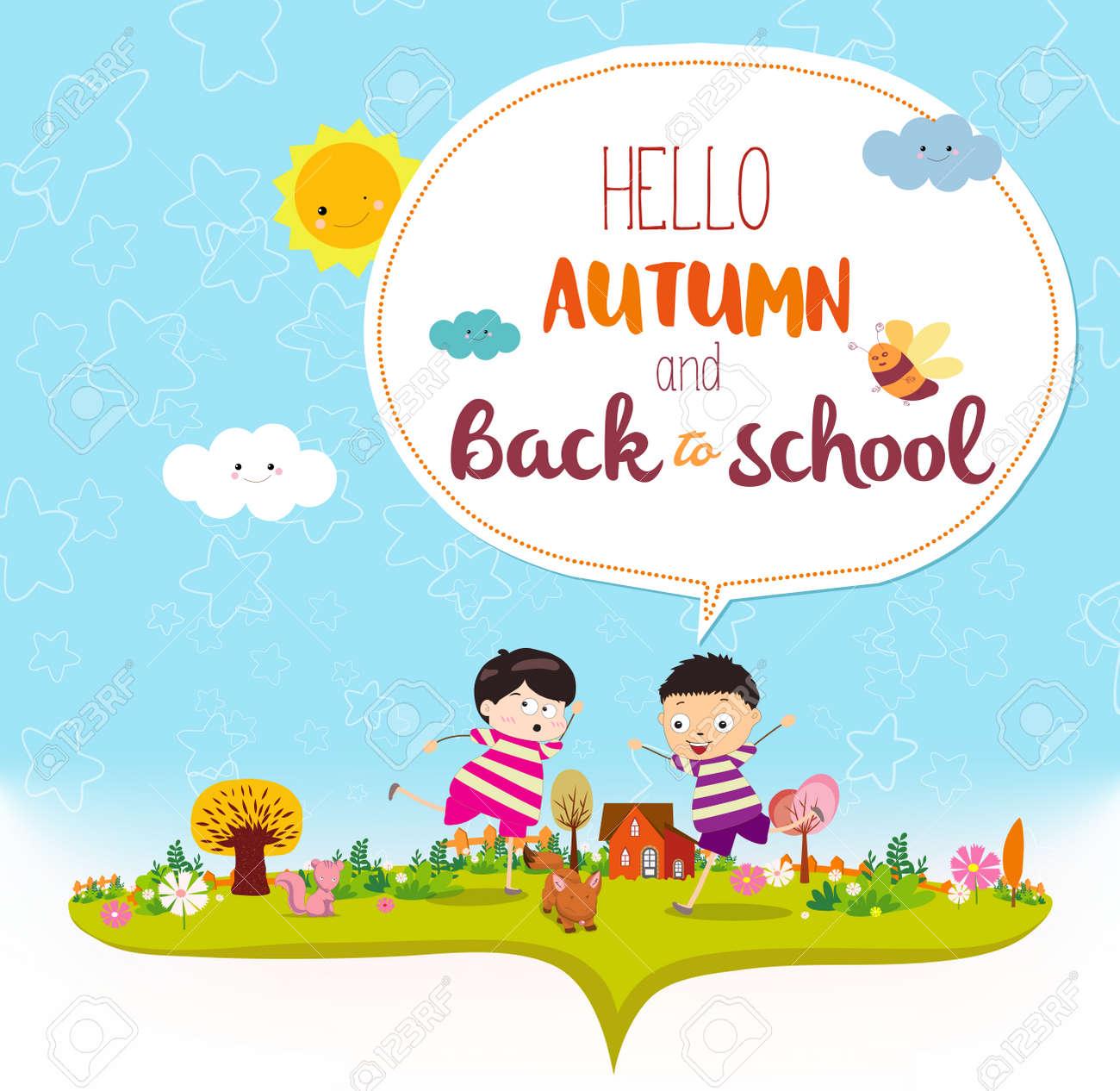 Auf Wiedersehen Sommer. Hallo Herbst Lustig Und Glücklich Lächelnde ...