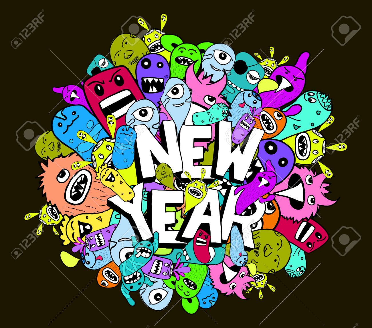 doodle hipster colorful background new year stock vector 43422038