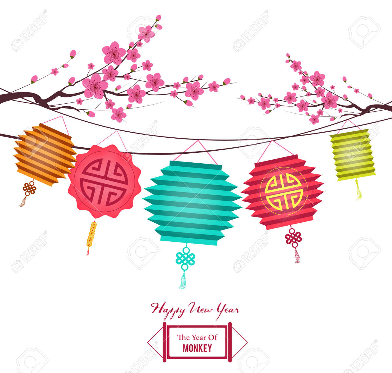 chinese new year lantern and plum blossom background with stock vector 45007249