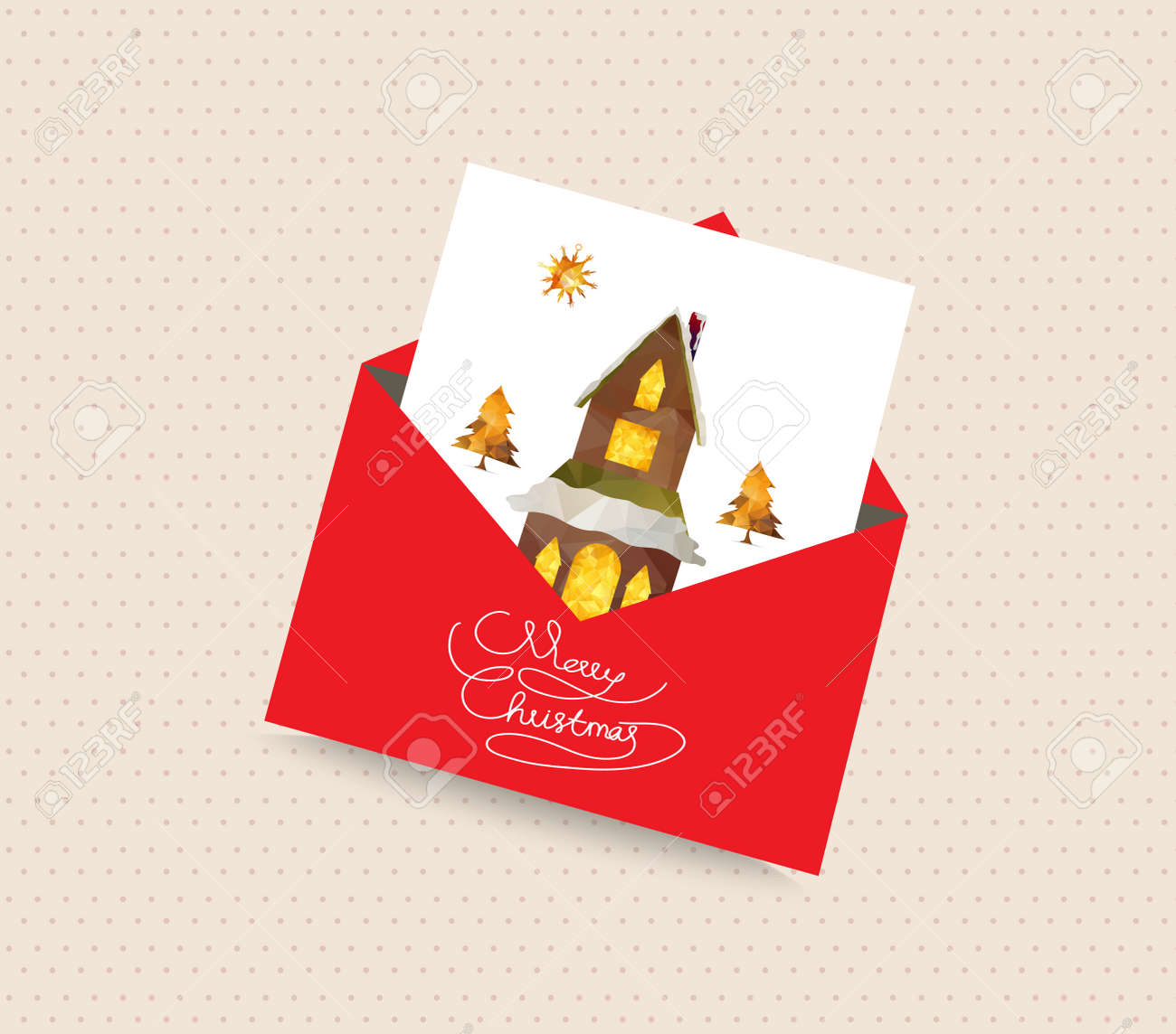 Merry christmas greeting card envelope with house and tree royalty merry christmas greeting card envelope with house and tree stock vector 47226689 kristyandbryce Gallery