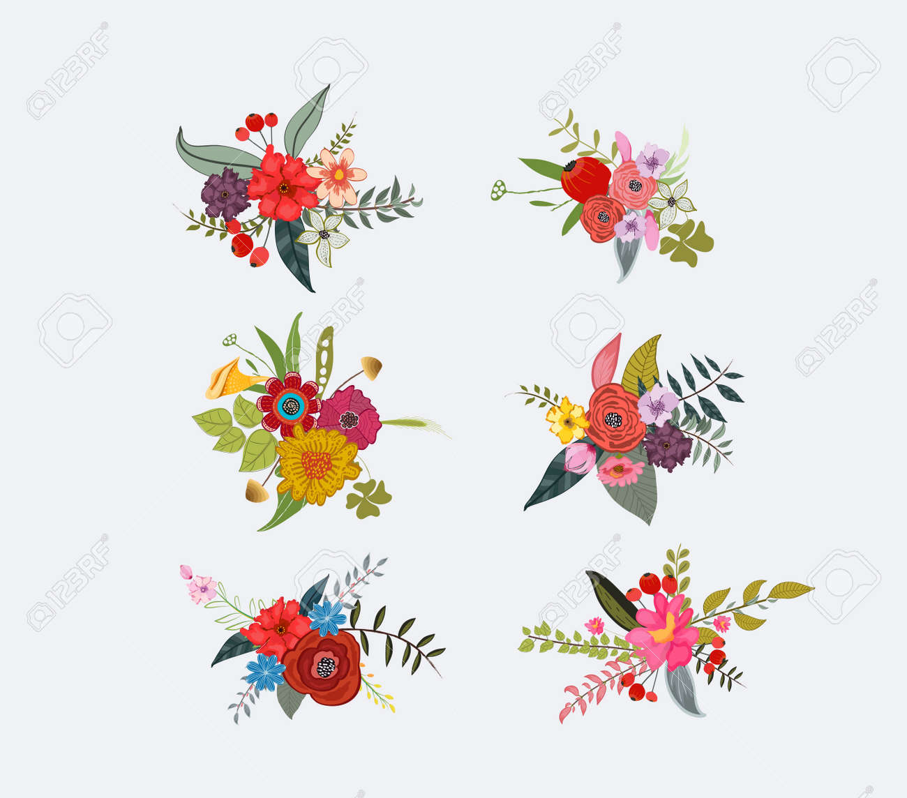 Spring floral clusters flower wreaths bouquets elements royalty spring floral clusters flower wreaths bouquets elements stock vector 57972405 mightylinksfo