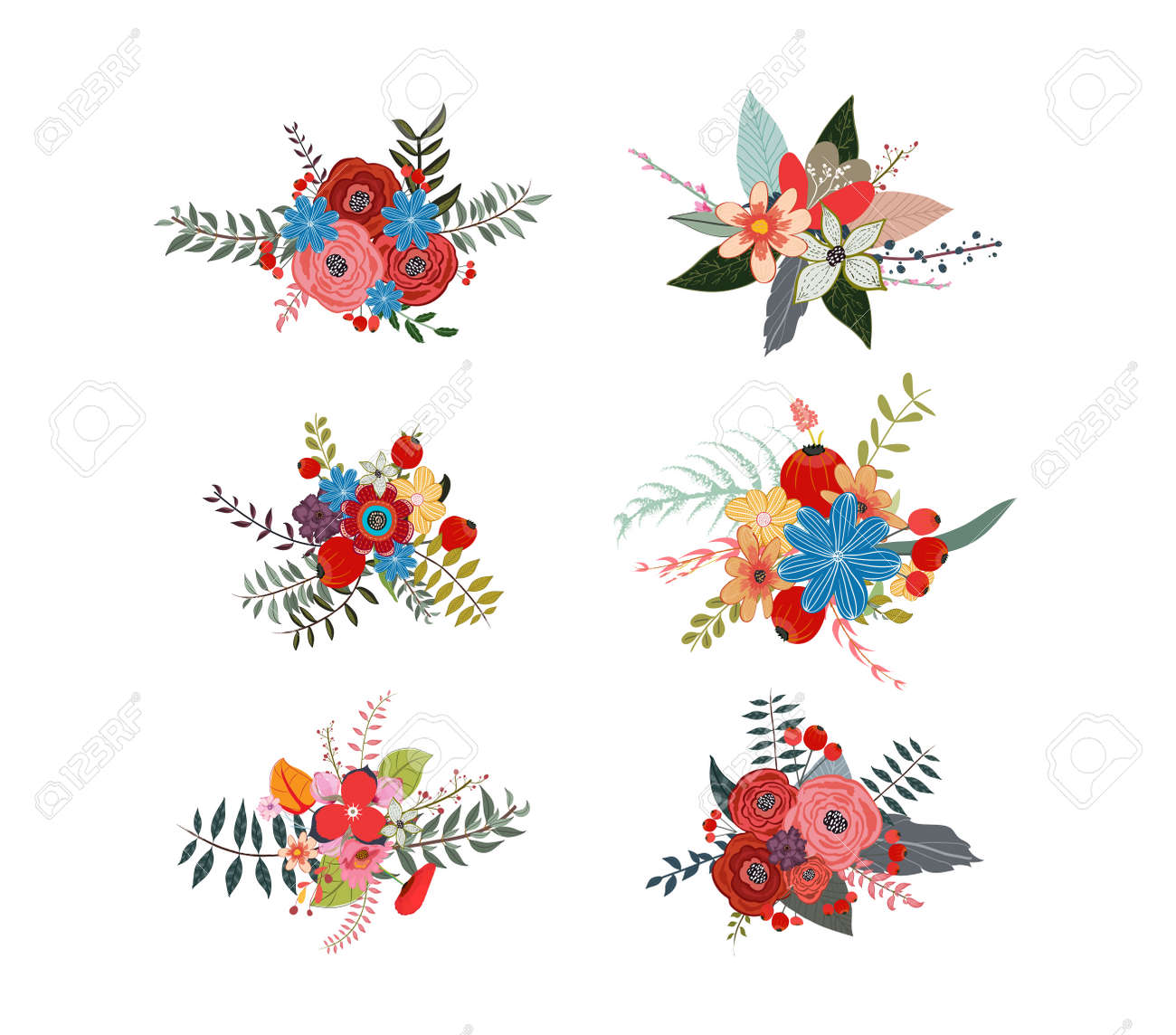 Spring floral clusters flower wreaths bouquets elements royalty spring floral clusters flower wreaths bouquets elements stock vector 57972406 mightylinksfo