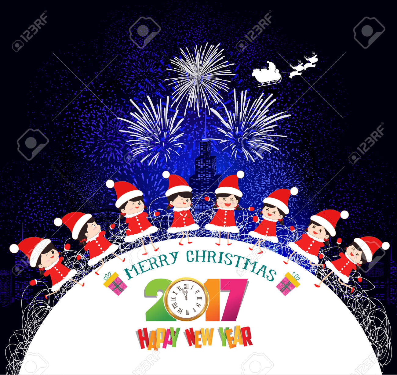Merry Christmas And Happy New Year 2017 Kids Background Children ...