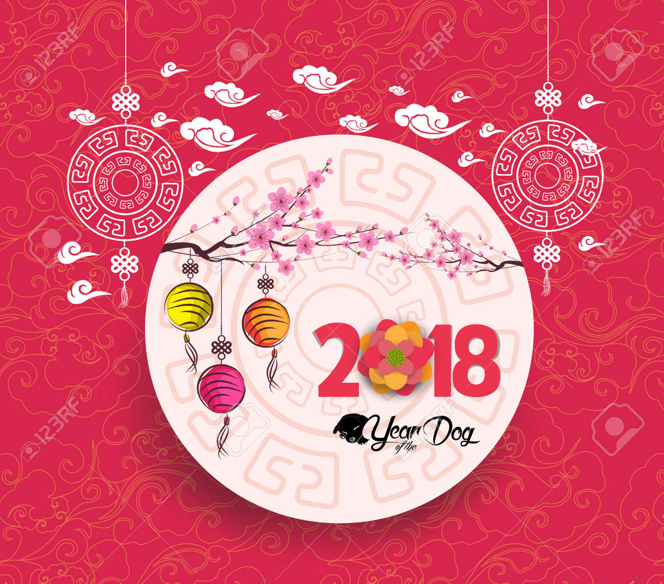 oriental chinese new year 2018 blossom and lantern background year of the dog stock vector