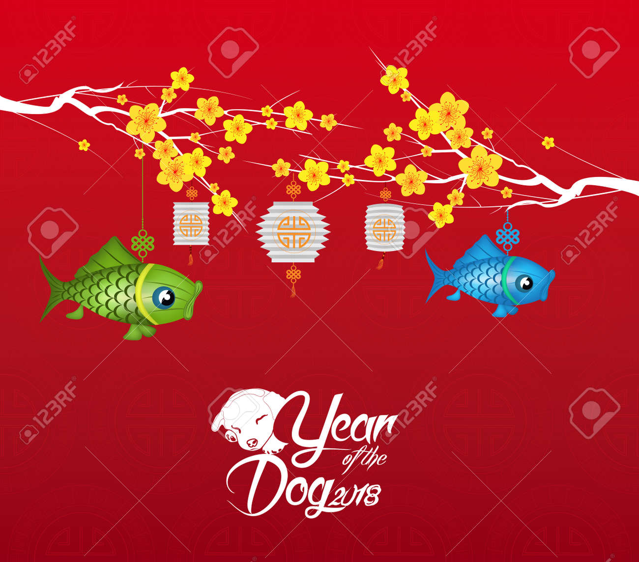 chinese new year 2018 blossom background year of the dog stock vector 85034524