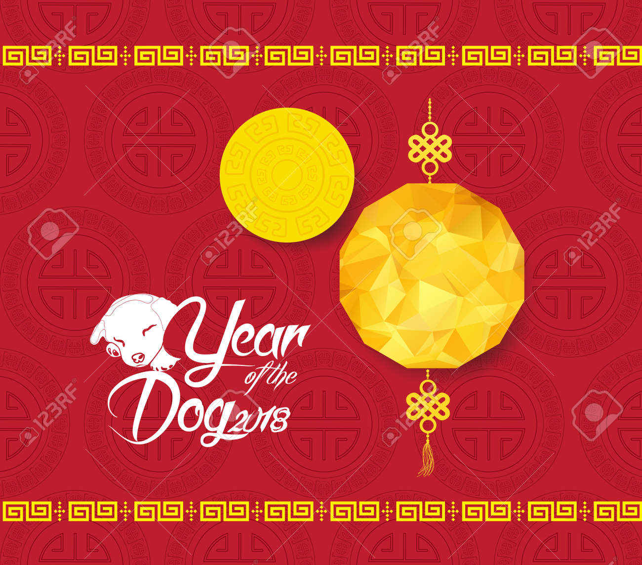 chinese new year background with lantern year of the dog stock vector 85034516