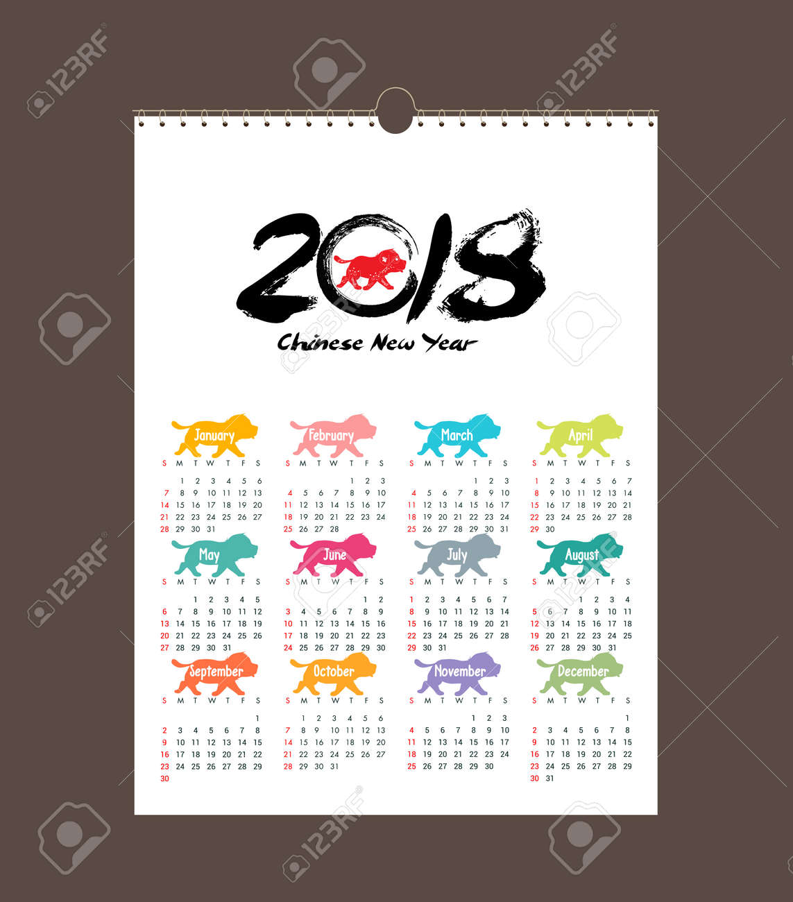 calendar 2018 design chinese new year the year of the dog zodiac monthly cards